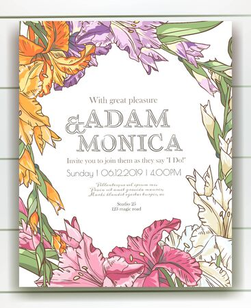 Vector delicate invitation with gladiolus for wedding, marriage, bridal, birthday, Valentines day. Beautiful flower composition template. Summer composition. Foto de archivo - 134435645