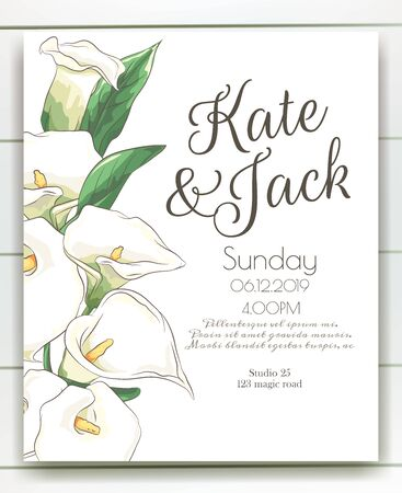 Vector delicate invitation with calla for wedding, marriage, bridal, birthday, Valentines day. Foto de archivo - 134435676