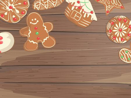 Christmas beautiful background with gingerbread cookies on wood
