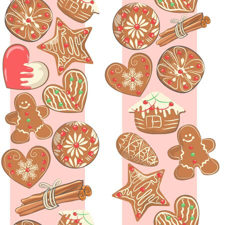 Seamless pattern with gingerbread cookies and pink stripes. Christmas background. Vector illustration