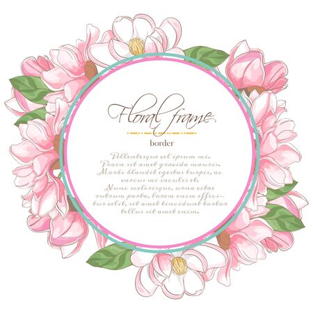 Vector delicate invitation with magnolia for wedding, marriage, bridal, birthday, Valentines day.