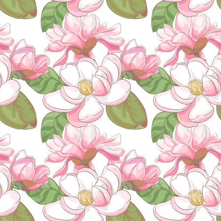 Seamless flora pattern with magnolia flowers and leaves on white background. Vector illustration Ilustrace