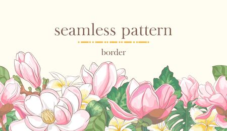 Seamless stripe with hand drawn magnolia flowers, plumeria and palm leaves. Ilustrace