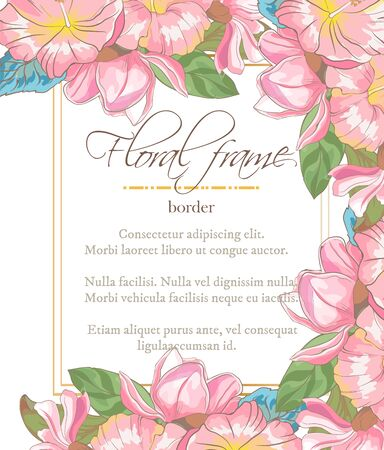 Vector delicate invitation with magnolia for wedding, marriage, bridal, birthday, Valentines day Ilustrace