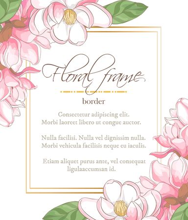 Vector delicate invitation with magnolia for wedding, marriage, bridal, birthday, Valentines day. Floral border with sketch colorful blossoms. Frame with hand drawn flowers Ilustrace