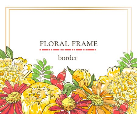 Floral border with sketch colorful blossoms. Frame with hand drawn peony, lchamomle and leaves branch. Vector illustration