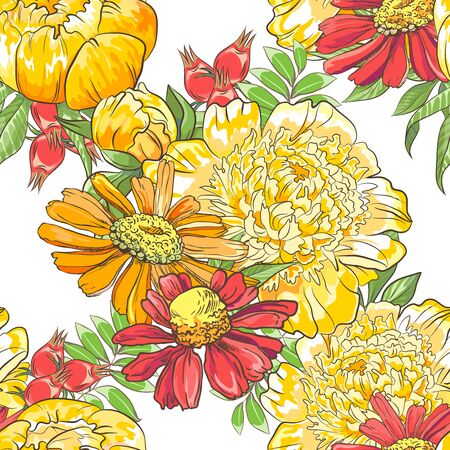 Seamless border pattern with sketch colorful blossoms. Background with peony, chamomile and berries and leaves.