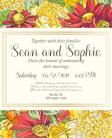 Vector delicate invitation with peony and chamomile for wedding, marriage, bridal, birthday, Valentines day. Beautiful flower composition. Summer composition. Ilustracja