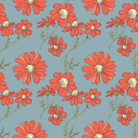 Seamless pattern with red flowers on blue background