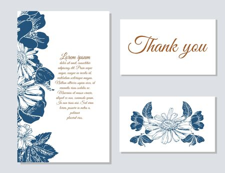Happy birthday card. Set of wedding invitation cards. Set of romantic vector cards with hand drawn flowers.