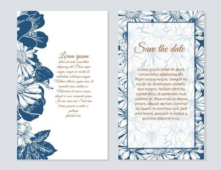 Happy birthday card. Set of wedding invitation cards. Set of romantic vector cards with hand drawn flowers Illusztráció
