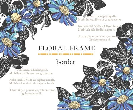Floral border with sketch black and blue blossoms. Frame with hand drawn chamomile and hibiscus. Vector illustration. Vector delicate gothic invitation.