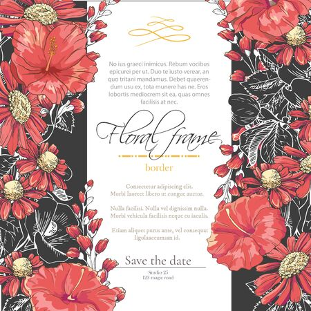 Floral border with sketch black and red blossoms. Frame with hand drawn chamomile and hibiscus. Vector illustration. Vector delicate gothic invitation.