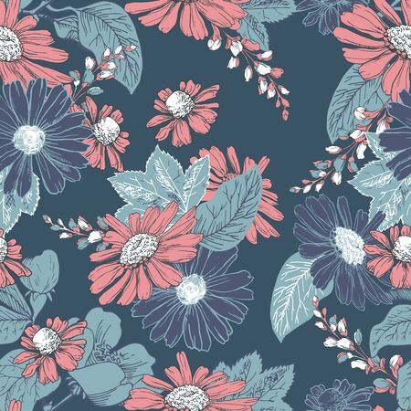 Seamless pattern with hand drawn chamomiles, bluebells and leaves on abstract black background Ilustrace