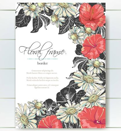 Vector delicate gothic invitation with black and white chamomile and hibiscus for wedding, marriage, bridal, birthday, Valentines day. Floral border with sketch colorful blossoms.Beautiful frame