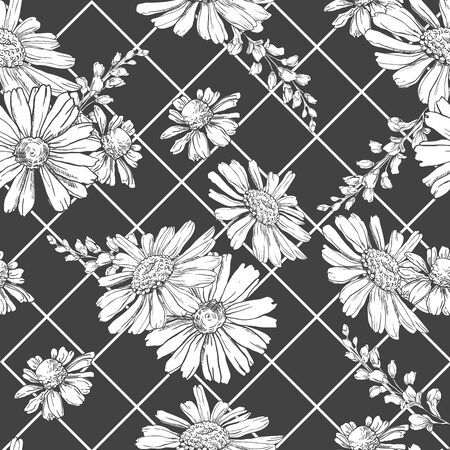 Seamless pattern with hand drawn black and white chamomiles, bluebells and leaves on abstract black background