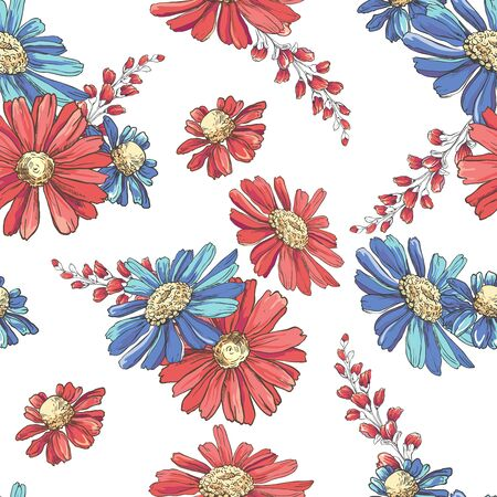 Seamless pattern with hand drawn colorful chamomiles, bluebells and leaves on white background