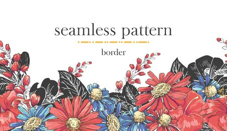 Seamless border pattern with sketch colorful blossoms. Seamless stripe with hand drawn chamomile bluebells and rose