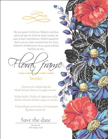 Vector delicate gothic invitation with black and blue chamomile and hibiscus for wedding, marriage, bridal, birthday, Valentines day. Floral border with sketch colorful blossoms.Beautiful frame