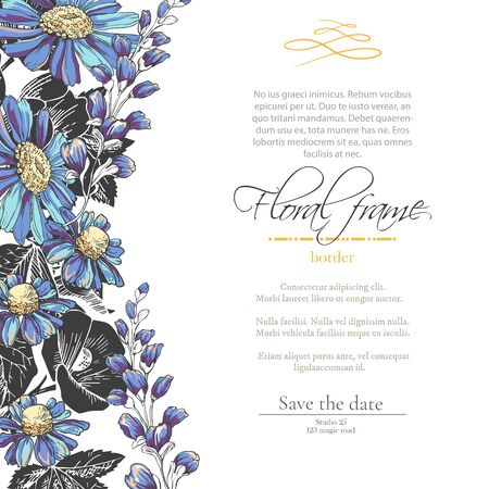 Vector delicate gothic invitation with black and blue chamomile and bluebells for wedding, marriage, bridal, birthday, Valentines day. Floral border with sketch colorful blossoms.Beautiful frame Ilustrace