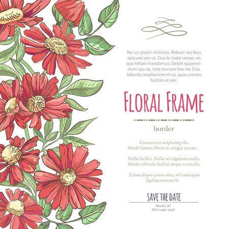 Vector zarte Einladung mit roter Kamille für Hochzeit, Heirat, Braut, Geburtstag, Valentinstag. Blumengrenze mit bunten Blüten der Skizze. Rahmen mit handgezeichneten Blumen Vektorgrafik