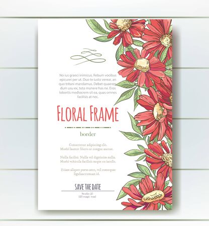 Vector delicate invitation with red chamomile for wedding, marriage, bridal, birthday, Valentines day. Floral border with sketch colorful blossoms. Frame with hand drawn flowers