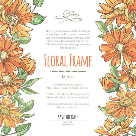 Vector delicate invitation with orange chamomile for wedding, marriage, bridal, birthday, Valentines day. Floral border with sketch colorful blossoms. Frame with hand drawn flowers Ilustrace