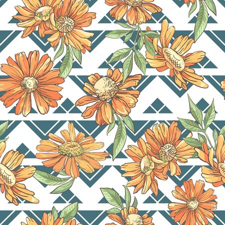 Seamless pattern with orange camomile on abstract background Ilustrace