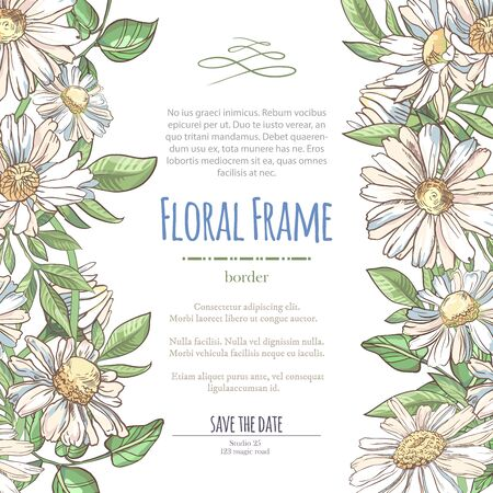 Vector delicate invitation with white chamomile for wedding, marriage, bridal, birthday, Valentines day. Floral border with sketch colorful blossoms. Frame with hand drawn flowers Ilustrace