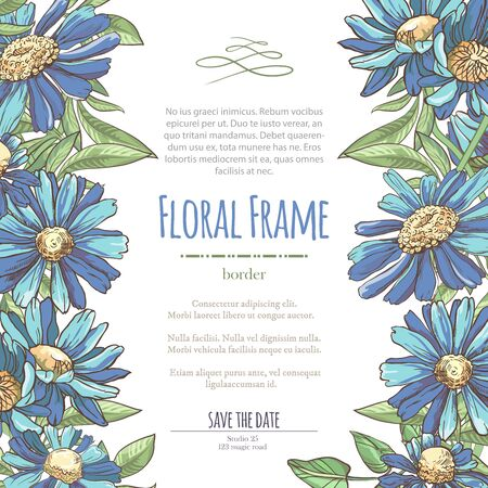 Vector delicate invitation with blue chamomile for wedding, marriage, bridal, birthday, Valentines day. Floral border with sketch colorful blossoms. Frame with hand drawn flowers