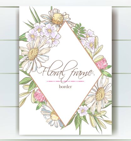 Vector delicate invitation with chamomile,dandelions for wedding, marriage, bridal, birthday, Valentines day. Floral border with sketch colorful blossoms. Frame with hand drawn flowers