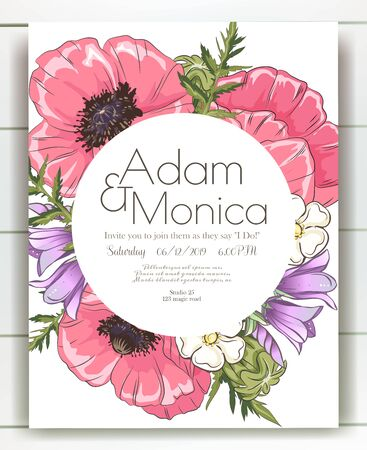 Vector delicate invitation with poppy for wedding, marriage, bridal, birthday, Valentines day. mothers day. Ilustrace