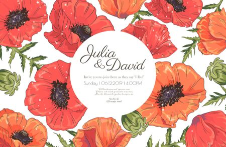 Template with poppy on white background. Vector frame with poppy for wedding, marriage, bridal, birthday, mothers day