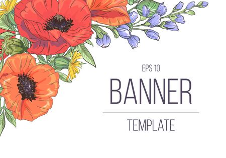 Template with poppy on white background. Vector frame with poppy for wedding, marriage, bridal, birthday, mothers day 免版税图像 - 147811854