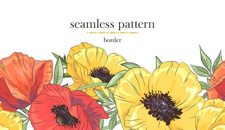 Seamless border pattern with colorful poppy. Seamless stripe with hand drawn. Vector illustration Ilustrace