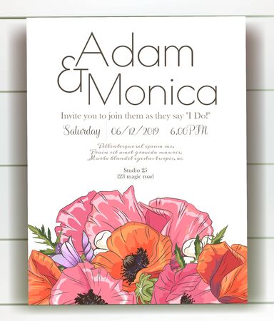 Vector delicate invitation with poppy for wedding, marriage, bridal, birthday, Valentines day. mothers day