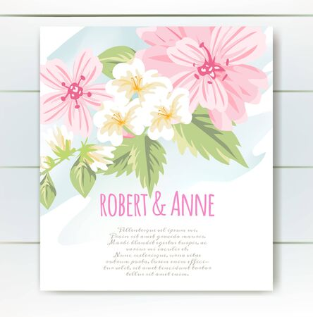 Vector delicate invitation with cute flowers for wedding, marriage, bridal, birthday, Valentines day