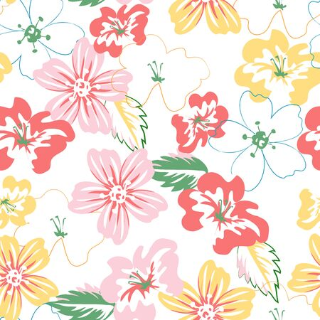 Seamless floral pattern. Summer abstract background with flowers