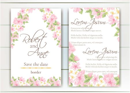 Set of vector delicate invitation with cute flowers for wedding, marriage, bridal, birthday, Valentines day