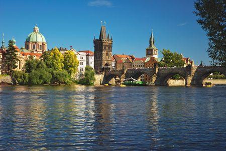 Old downtown of Prague. River Vltava and Charles bridge