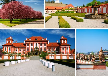 Collage from area medieval castle Troja. Prague Stock Photo