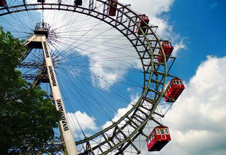 The oldiest Ferris Wheel in Vienna, Austria. Prater park Stock Photo
