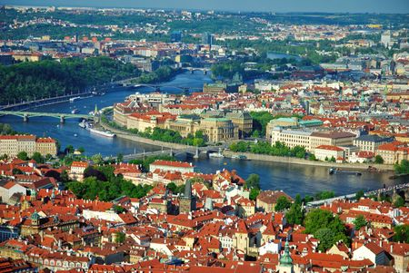 View of city and river Vltava in Prague from Petrinska  tower