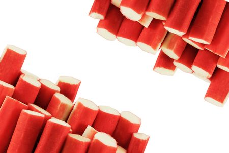 Crabsticks on white background. Fresh seafood