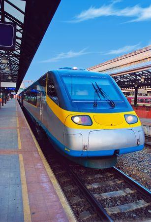 Blue passenger train