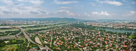 Aerial view of Vienna from Donau tower, Austria. Panorama Stock Photo - 5326607