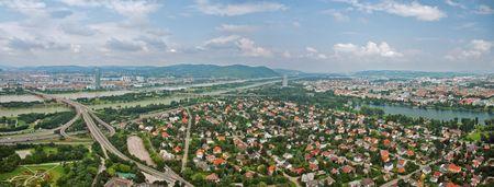 Aerial view of Vienna from Donau tower, Austria. Panorama