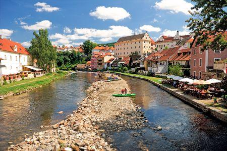Landscape Cesky Krumlov. River Vltava and coloured houses