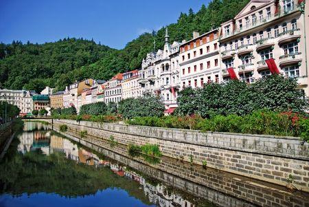 Landscape city center in Karlovy Vary. Czech Republic