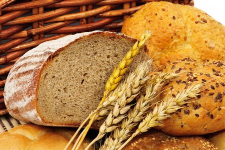 Fresh bread with wheat photo